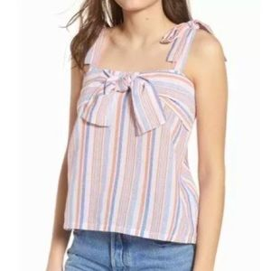 MOON RIVER Tie Detail Coral Striped Top